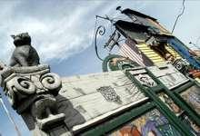 Mural escenográfico en La Boca, Buenos Aires